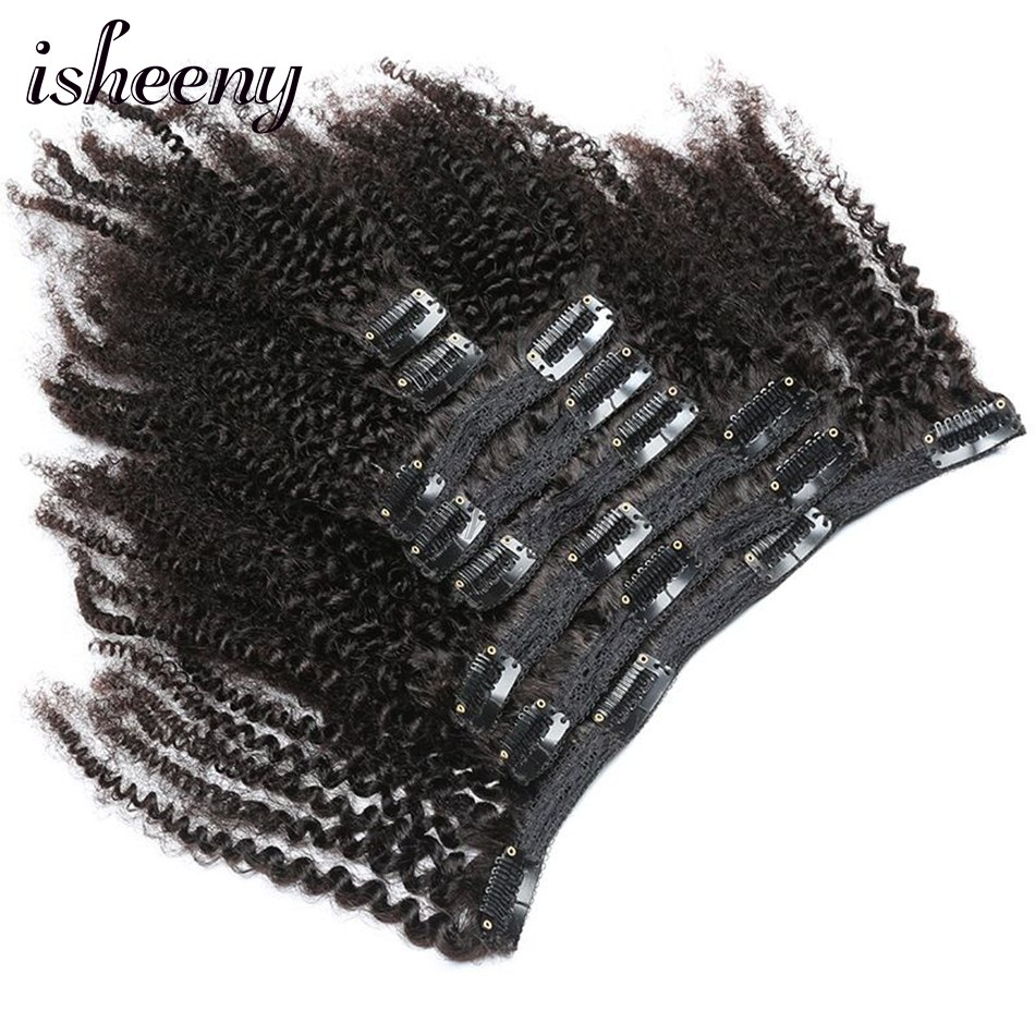 Isheeny 8pcs/set Afro Kinky Curly Wave Remy Human Hair Clip In Extensions 8-20 Natural Color 120g Ship From Unite States