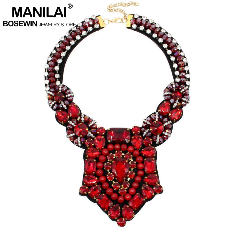 MANILAI Crystal Bead Luxury Collar Choker Necklace Women Accessories Indian Style Handmade Bib Maxi Necklaces Statement Jewelry manilai trendy arc hollow metal big torque choker necklaces women indian geometric collar statement necklace jewelry wholesale