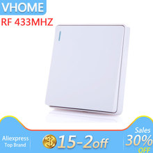 Vhome smart home button remote control Switch wireless RF 433mhz 170-240V 5A For Hall Bedroom Ceiling Lights Wall Lamps vhome wireless 433mhz wall switch shape transmitter control 220v receiver for bedroom ceiling lights wall lamps garage door
