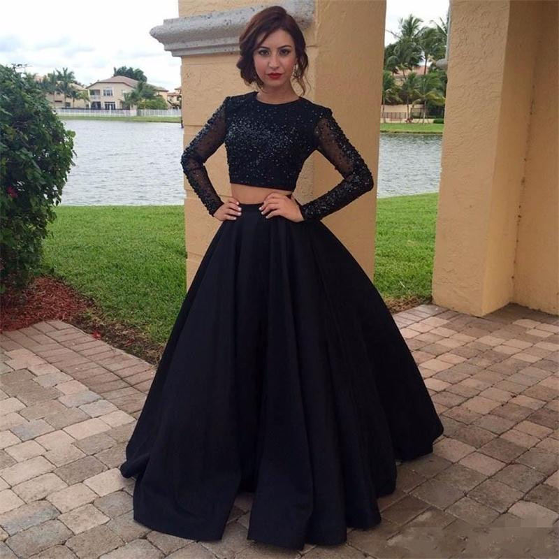 -2017-Two-Pieces-Dresses-Formal-Evening-Wear-Jewel-Sequins-Long-Sleeves-Prom-Dress-Black-Long