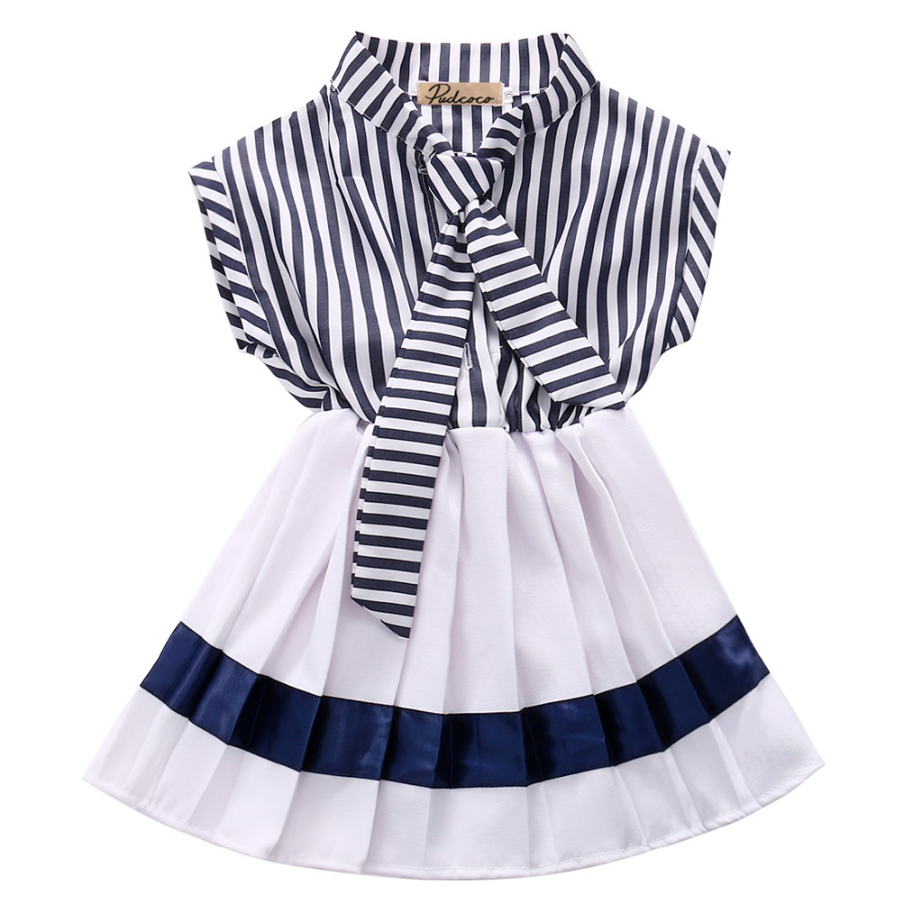 2016 wholesale dropshipping cute kids infant baby girls navy striped woven princess party sleeveless dresses 2-7Y