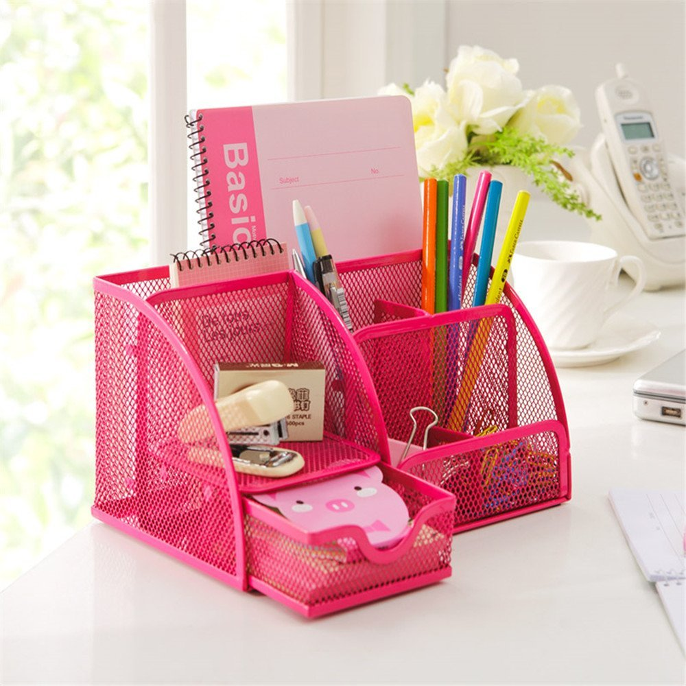 Miraculous Us 6 15 23 Off Hot Pink Office Supplies Mesh Desk Organizer Desktop Pencil Holder Accessories Caddy With Drawer 7 Compartments In Stationery Holder Beutiful Home Inspiration Xortanetmahrainfo