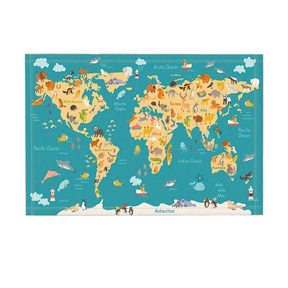 Kids Animal Map Bath Rugs, Preschool Children World Map With Ocean Name, Non-Slip Doormat Floor Entryways Indoor Front Door Mat