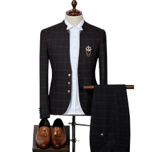Suits mens plaid collar suit two-piece groom wedding dress groomsmen British three-piece (blazer + vest pants)
