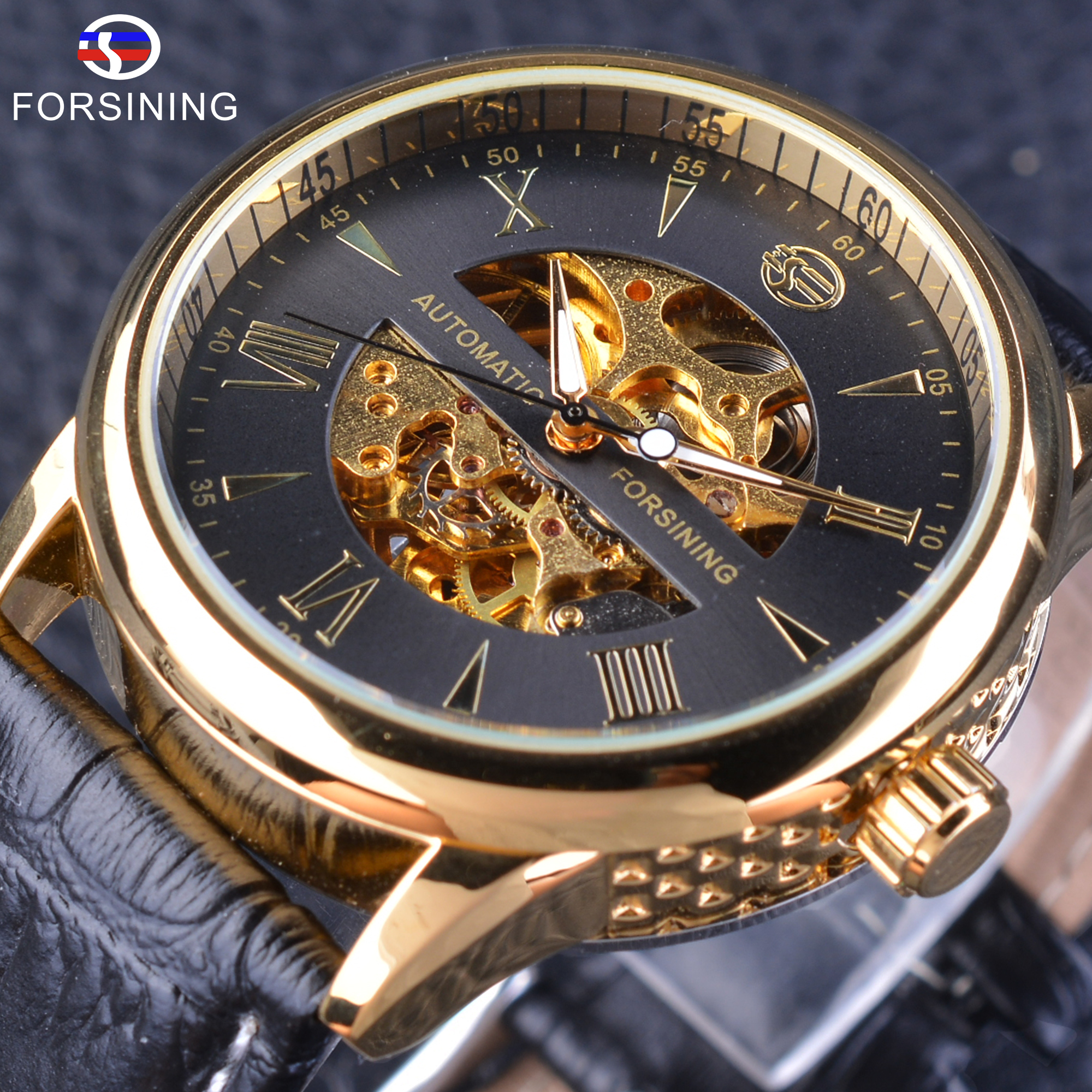 Forsining Mens Watches Top Brand Luxury Automatic Self-winding Watch Fashion Skeleton Mechanical Wristwatch Genuine Leather Belt top brand binger fashion casual watch female form hollow automatic mechanical watches self winding women waterproof leather