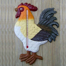 Colorful Metal Cast Iron Cock Wall Indoor Outdoor Mount Thermometer
