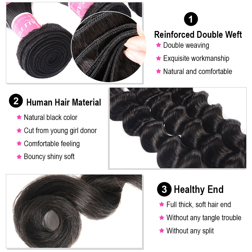 Ali Pearl Hair Long Length 28 30 32 34 36 38 40 Inches Brazilian Deep Wave Bundles 1 Piece Only Human Hair Remy Natural Color Hair Weaves