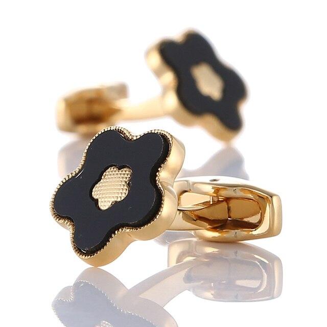 Gold Flower High quality Cuff links  2