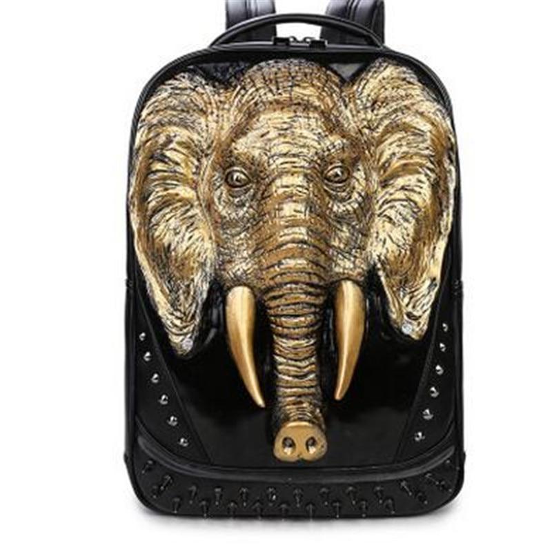 3 Color PU Leather Men Backpack Unique 3D Travel Backpack Punk Rivet Elephants Printing 15.6 Inch Waterproof Men Laptop Bags 2