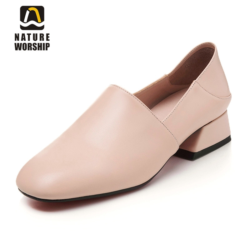 Nature Worship New Fashion Genuine Leather Shoes High Heels Women Pumps Square Toe Leisure Shoes Slip On Casual Pumps Big Size xiaying smile new summer women sandals high square heels pumps fashion platform shoes casual lady mature style slip on shoes