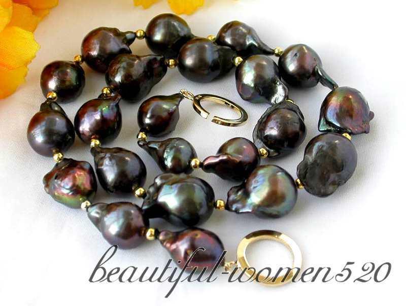 """Z4696 big 17"""" 20mm baroque black keshi reborn pearl necklace silver"""