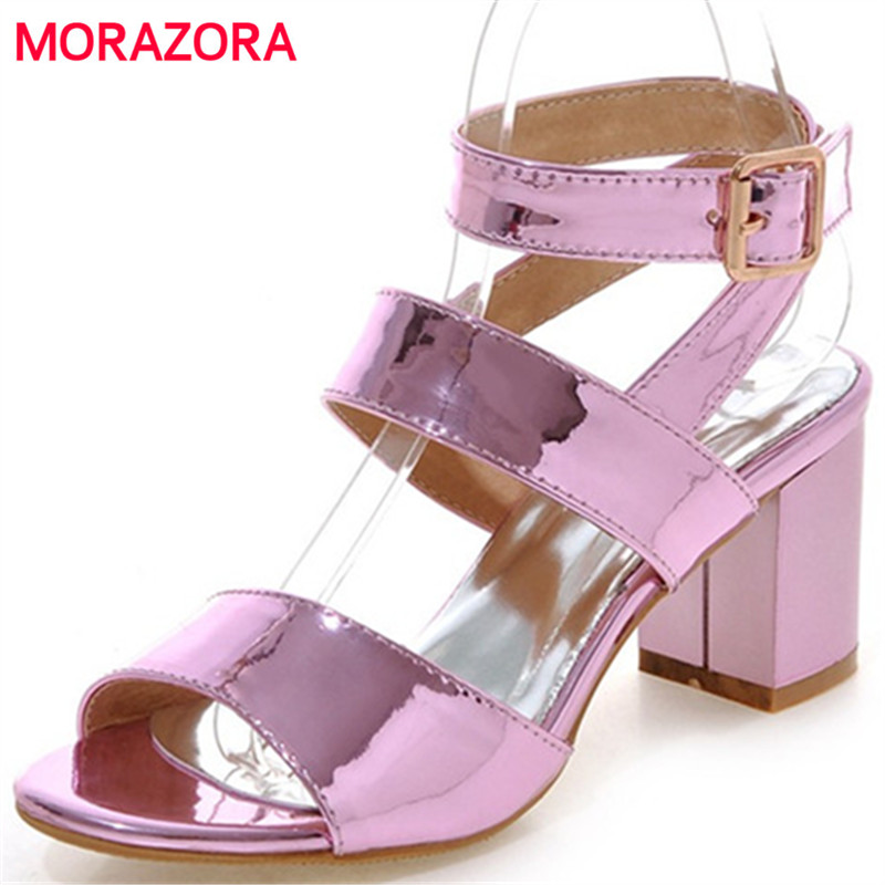 MORAZORA Large size 34-45 women sandals shoes in summer solid PU buckle party shoes fashion sexy lady high heels shoes