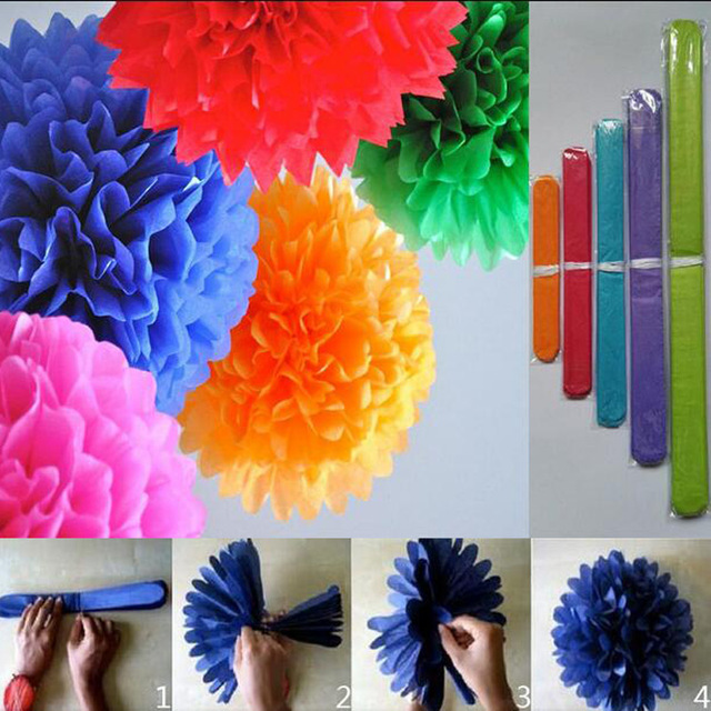 Tissue paper flower ball 10pcslot 6 colorful tissue paper pom tissue paper flower ball 10pcslot 6 colorful tissue paper pom poms wedding mightylinksfo
