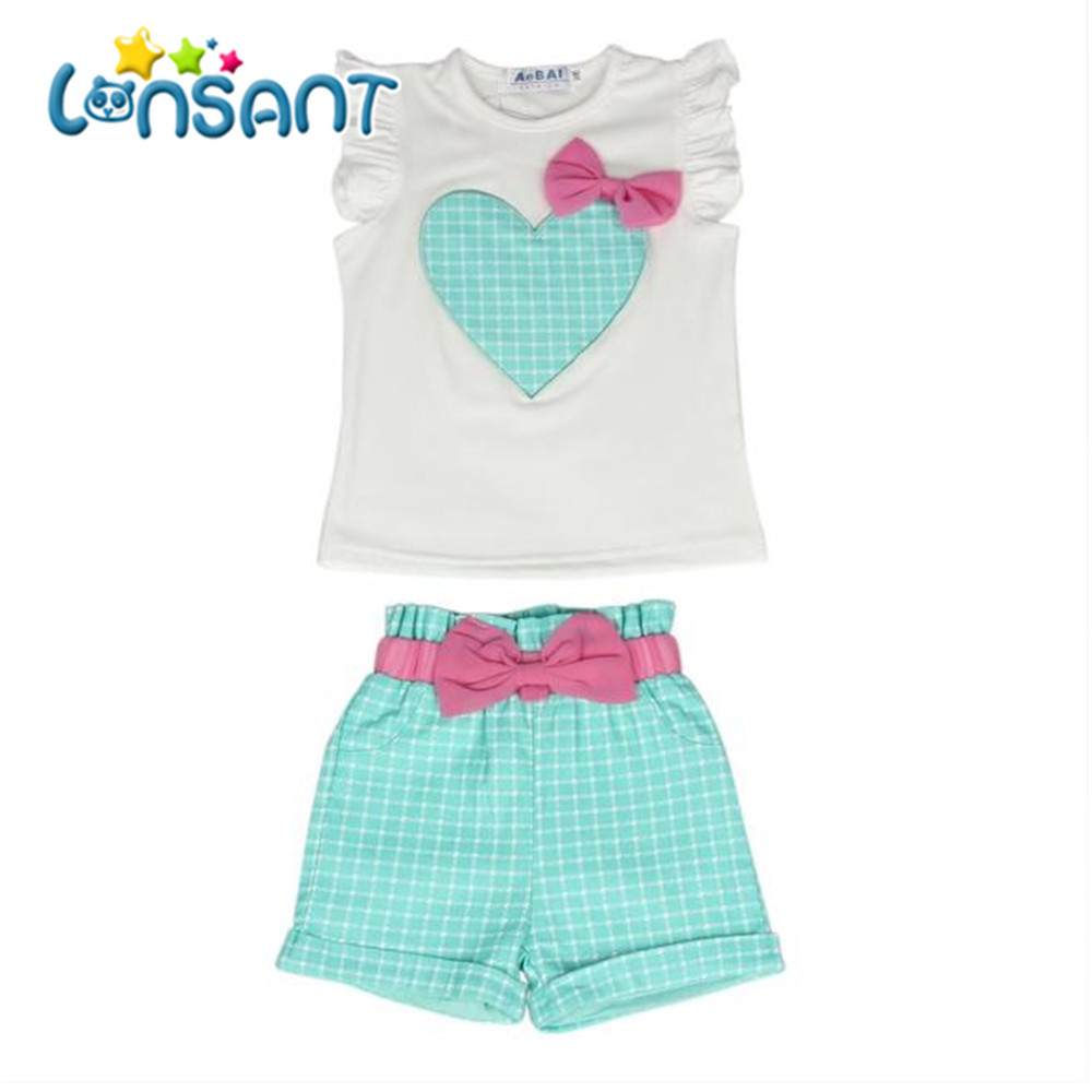 LONSANT New 2018 Summer Baby Girls Kids Girls Love Heart Bow Vest T-Shirt Bow Plaid Shorts Set Sleeveless Round neck Clothing lonsant new 2018 summer baby girls kids girls love heart bow vest t shirt bow plaid shorts set sleeveless round neck clothing