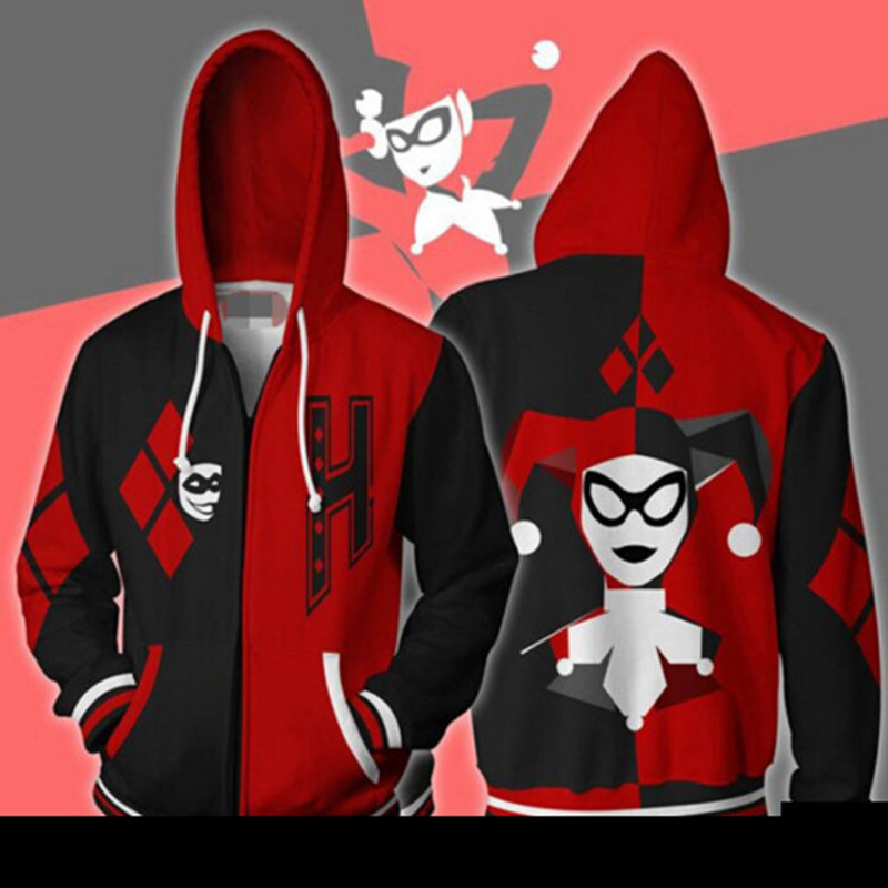 Harley Quinn Zip up Jackets 3D Printed Suicide Squad Hooded Hoodies Sweatshirts for Men Women Hip Hop Cardigan Hoody Clothing