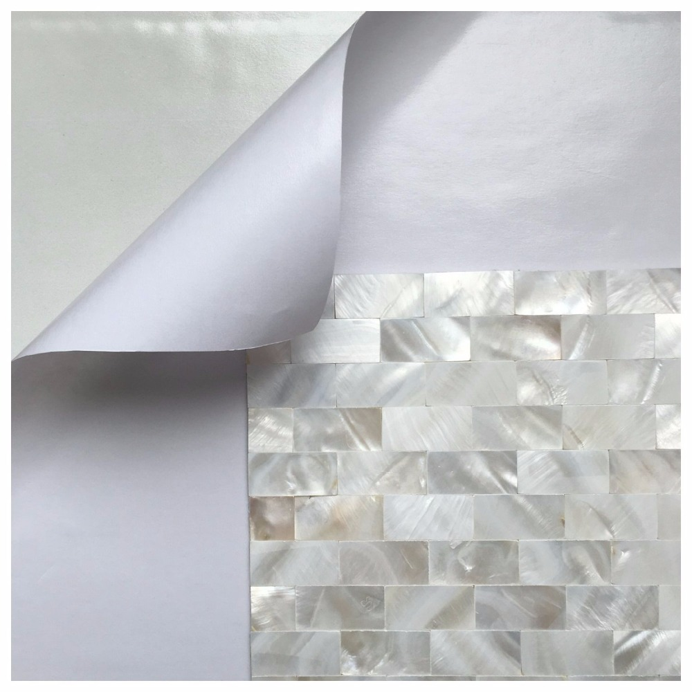 6 Shell Mosaic Tiles Peel and Stick Mother of Pearl Shell Tile for - Home Decor - Photo 3