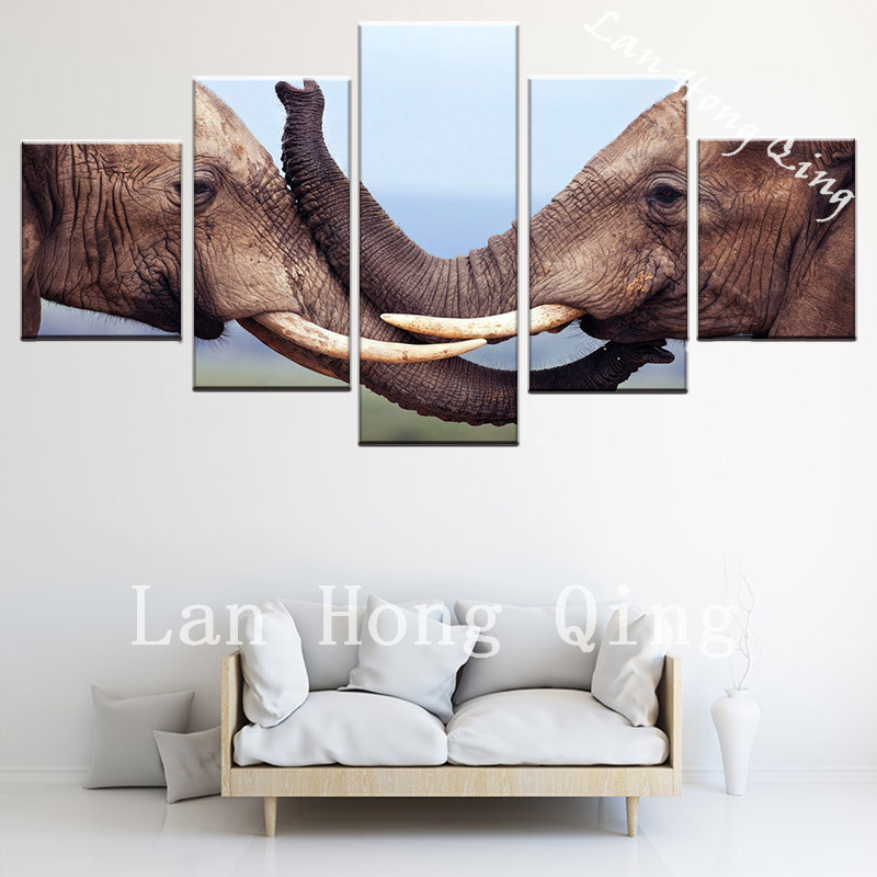 Drop Shipping Two Lover Elephant 5 Pieces High Definition Canvas Painting Print On Wall