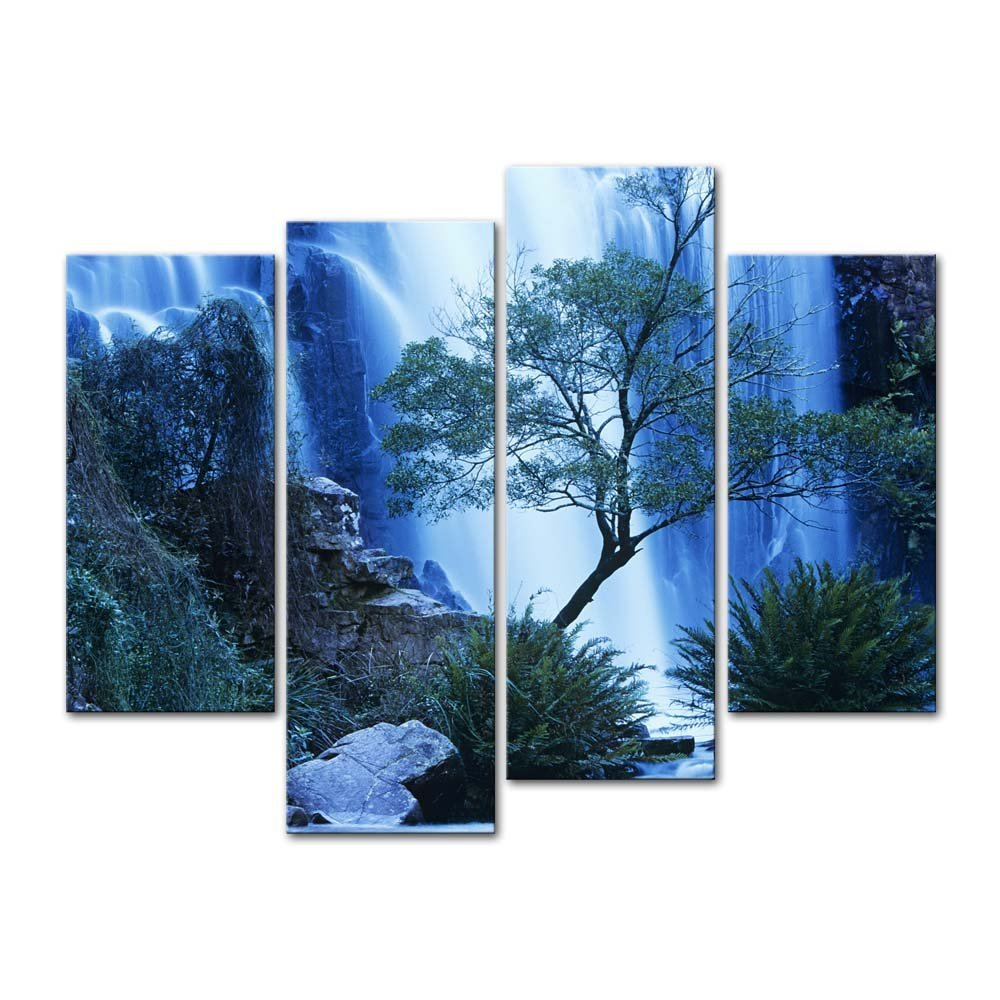 4 pieces modern canvas painting wall art australia waterfall in forest waterfall landscape print Home decor wall decor australia