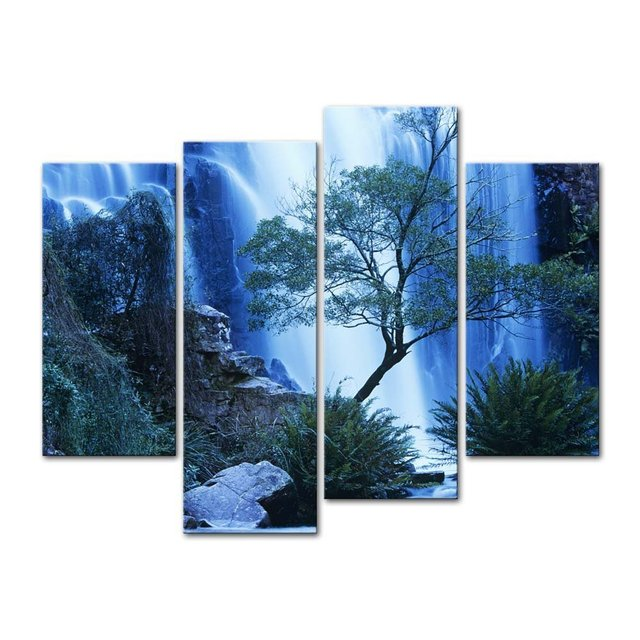 4 Pieces Modern Canvas Painting Wall Art Australia Waterfall In ...