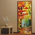 Осенние листья масляной живописи наклейки для домашнего декора самоклеющиеся наклейки двери водоотталкивающие обои для спальни ремонт дв...