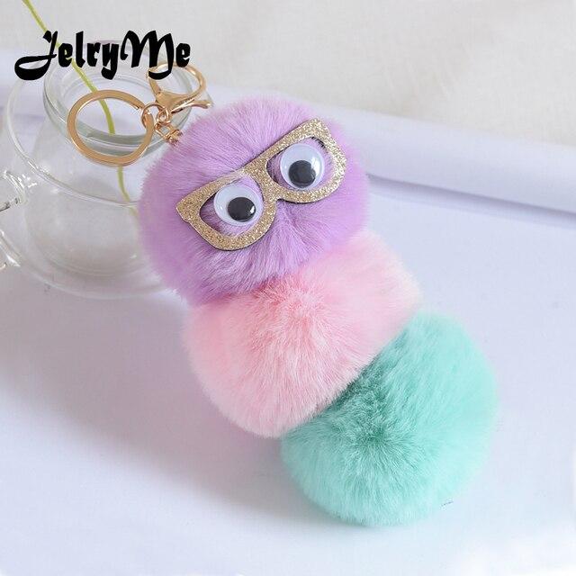 8CM Three Pompom Ball Fluffy Keychain Female Cute Sequins Glasses Key Chain  Faux Rabbit Fur Women Bag Pendant Car Keyring Holder 59d6f4f523d6b