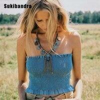 Sukibandra Summer Off Shoulder Ruffle Crop Top For Women Bustier Elastic Sleeveless Short Tube Top Boho