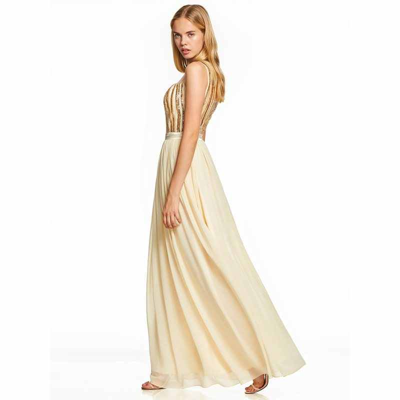 Dressv פאייטים ארוך שמלה לנשף נרקיס סקופ צוואר מקיר לקיר אורך קו שמלת נשים ללא שרוולים מסיבת חתונת פורמליות שמלות נשף