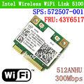 Dual band intel wifi 5100 512an_hmw sem fio 300 mbps 802.11 agn metade wlan cartão sps: 572507-001 fru: 43y6517