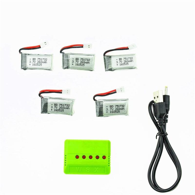 5pcs h8 260mAh 3.7V li-po Battery and x5 USB charger EU plug For Eachine H8 JJRC H8 Mini Syma S107g X2 Nihui U207 H2