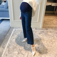 2018 new autumn pregnant women cowboy stomach lift pants tide mother micro horn wide leg casual bottoming trousers