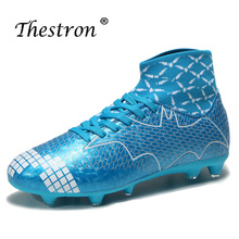Unisex Football Shoes High Top Sneakers Sock Shoe Luxury Brand Soccer Kids Cleats Long Spike Mens Blue Boots