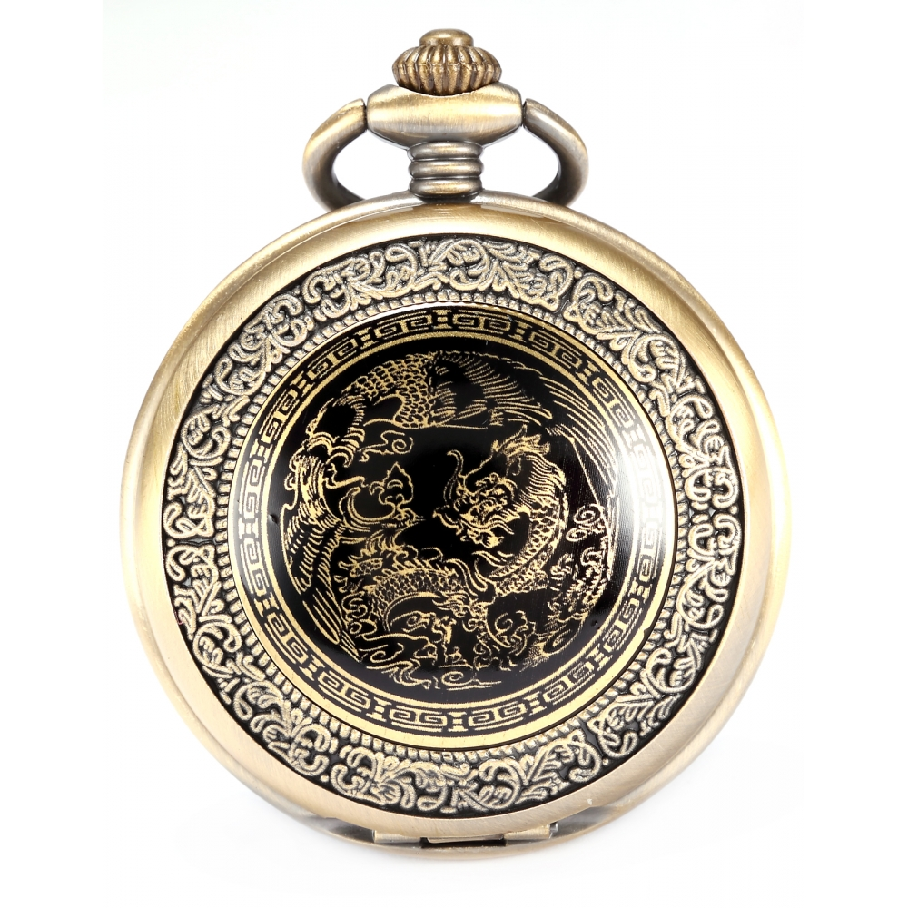 Nostalgic Classic Bronze Copper Craft Dragon Pendant White Dial Men Lady Fob Chain Quartz Pocket Watch Clock + Gift Box /WPK062 все цены