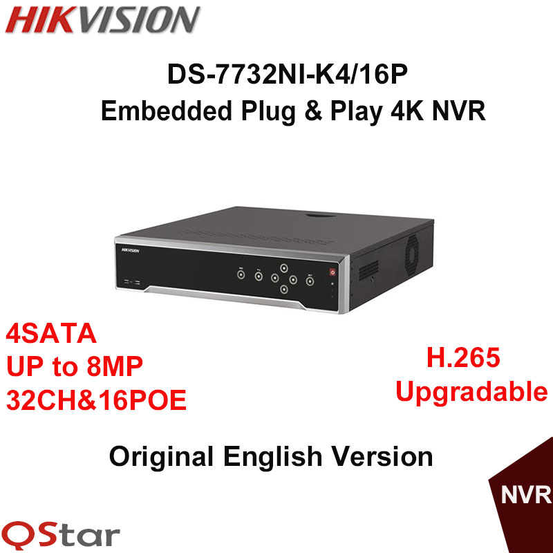 Hikvision Original English Version DS-7732NI-K4/16P Embedded 4K NVR 4HDD Support H.265 8MP 16POE 32CH Network DHL Free Shipping