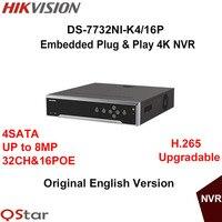 Hikvision Originale Versione Inglese DS-7732NI-K4/16 P Incorporato 4 K NVR Supporto H.265 4HDD 8MP 16POE 32CH Rete DHL spedizione Gratuita