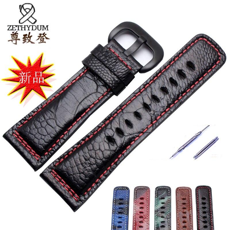 Bracelet en cuir véritable de qualité bracelet en peau d'autruche 28mm bracelet en cuir de remplacement pour P1 P2 M1