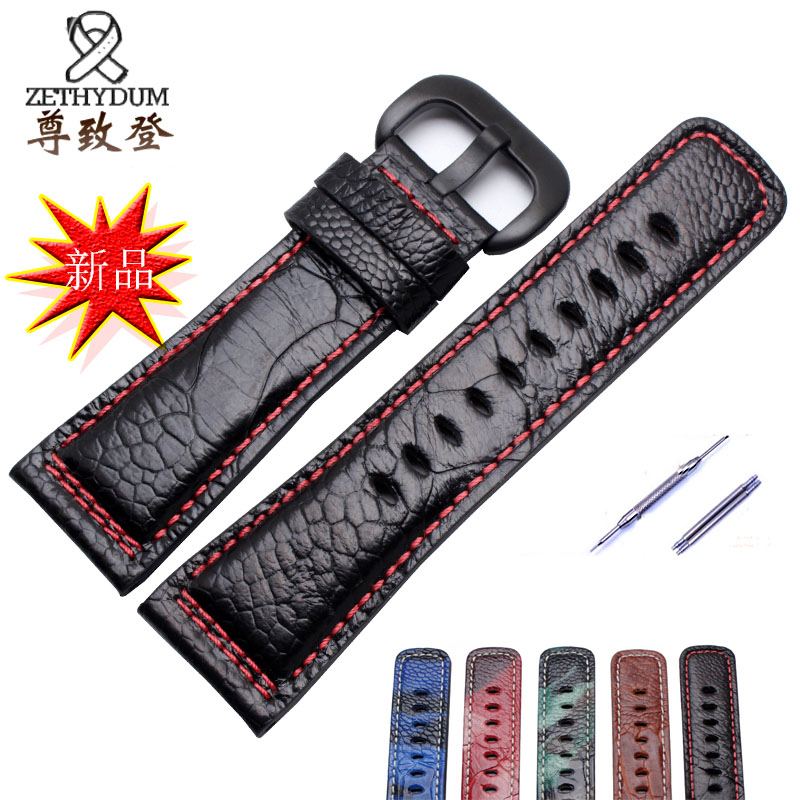 ФОТО Quality genuine leather watchband 28mm ostrich skin bracelet replacement leather strap for P1 P2 M1