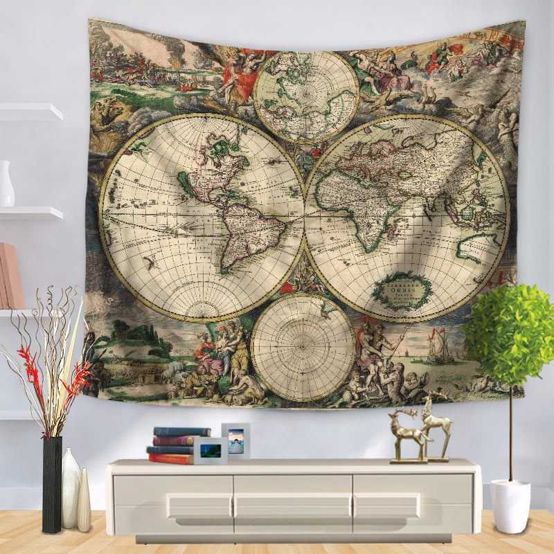 Polyester world map tapestry 150x130cm lesser bairam wall hanging polyester world map tapestry 150x130cm lesser bairam wall hanging throw blanket beach towel yoga mat home decoration accessories in tapestry from home gumiabroncs Choice Image