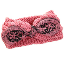 Women USA Chicago Bow Turban Headbands Crochet Girls Fashion Wide Head Wrap Lady Ear Warmer Hairband Elastic Hair Accessories