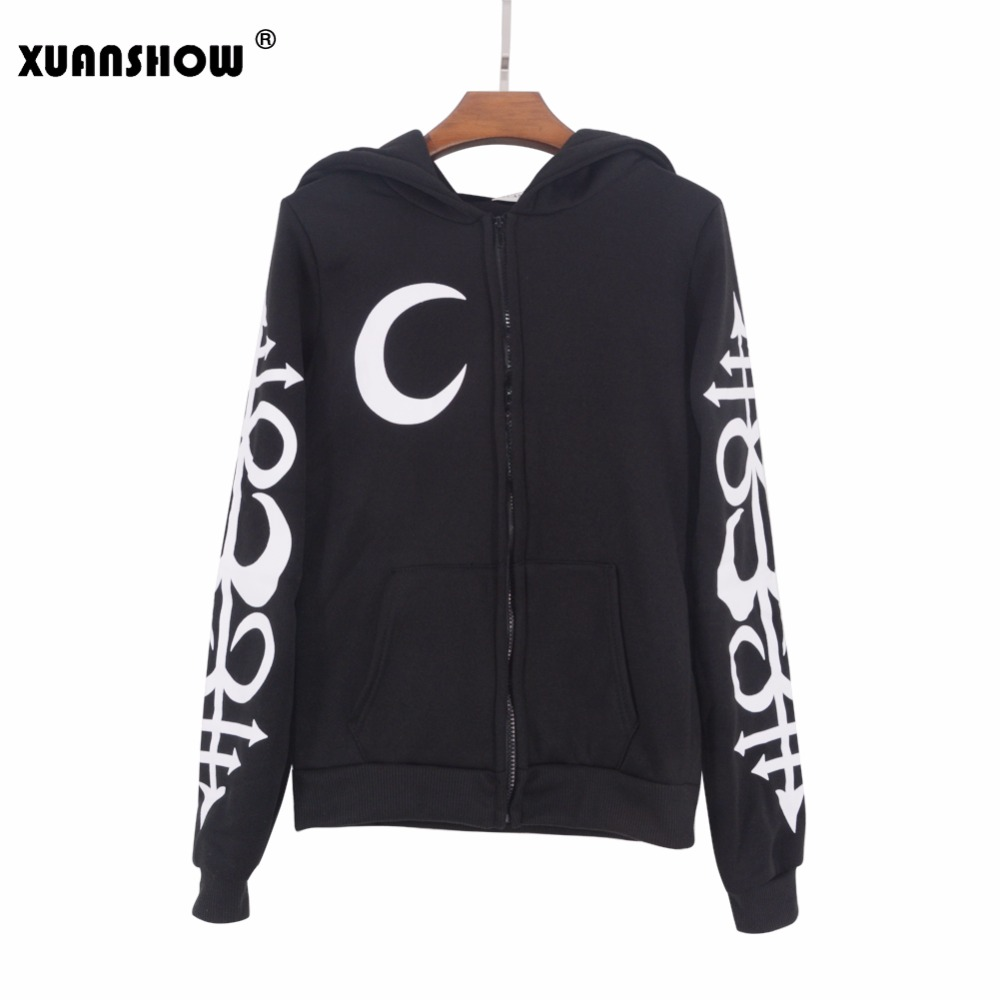 Xuanshow Women Hoodies Clothes Gothic Punk Moon Letters Printed Sweatshirts Winter Autumn Long Sleeve Jacket Zipper Coat #5