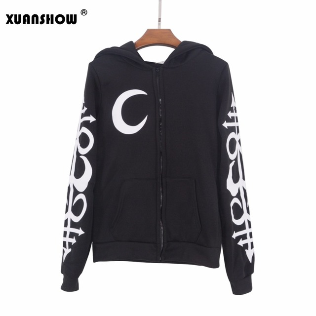 Women Hoodie Punk Moon Letters Printed Sweatshirts
