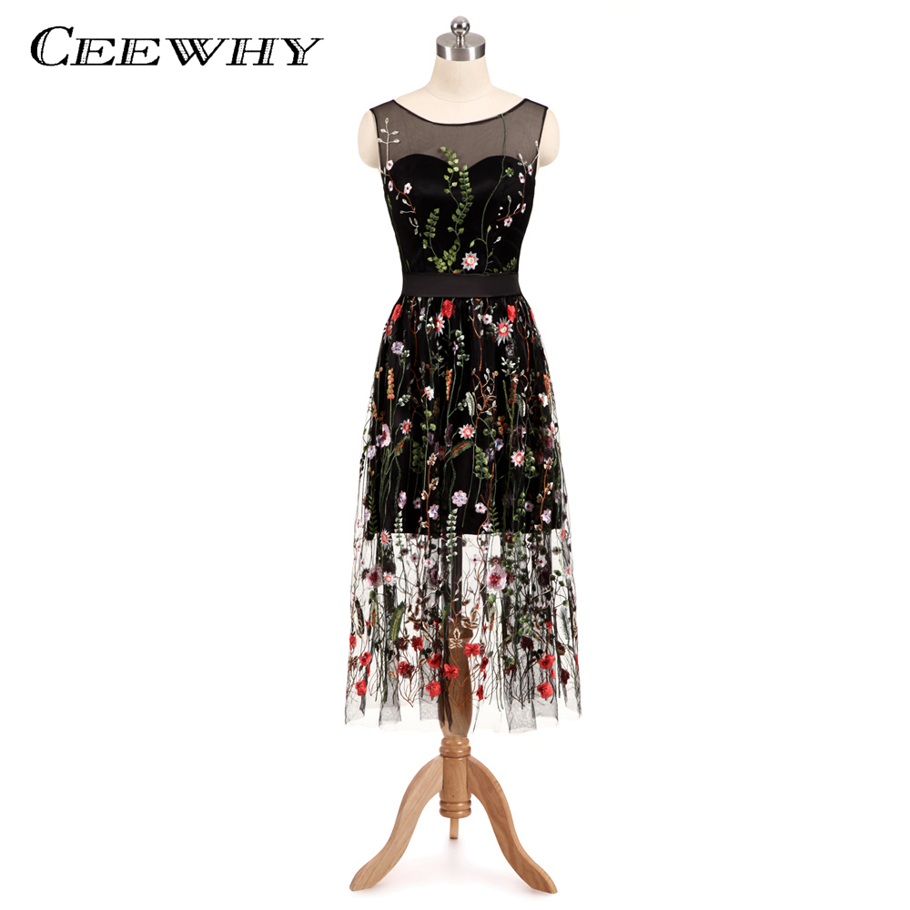 CEEWHY Elegant Floral Embroidery Formal Dress Vintage Prom Dress ...