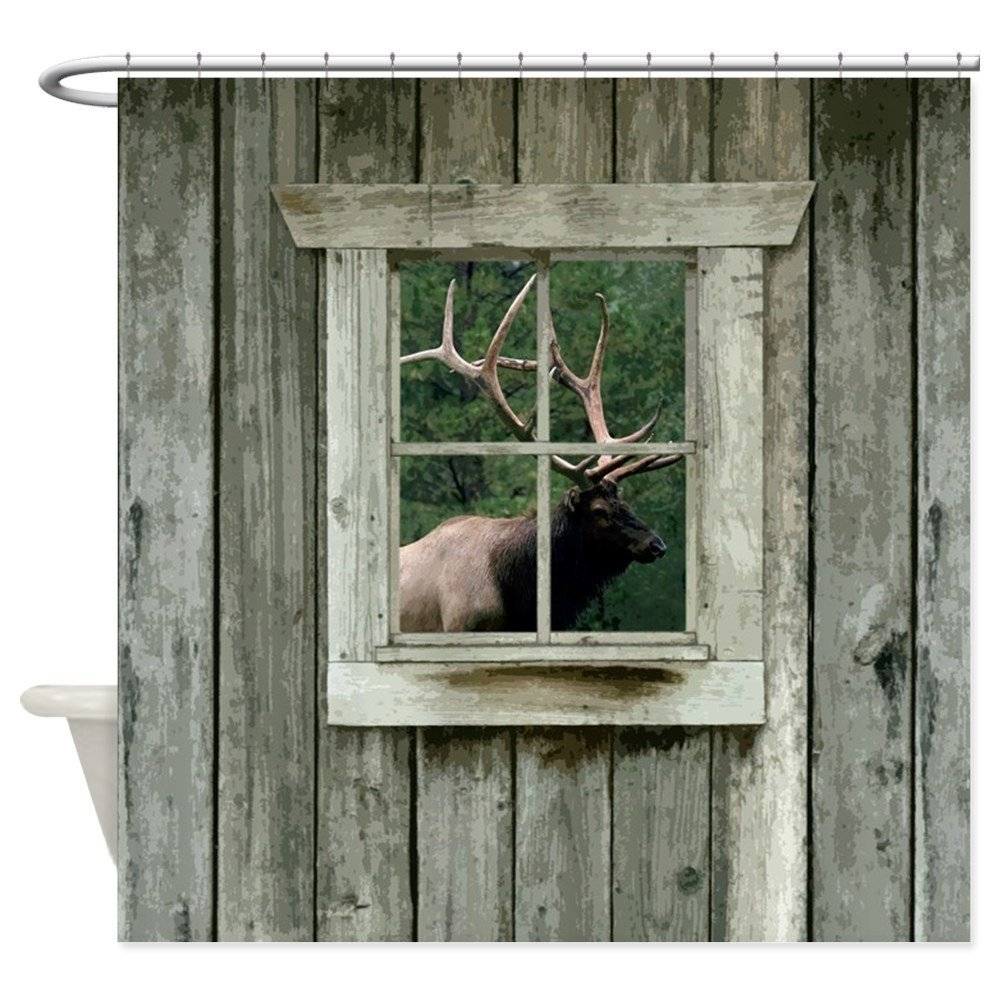 Old Wood Cabin Window With Bull Elk Decorative Fabric Shower Curtain Bath Products Bathroom Decor Hooks Waterproof