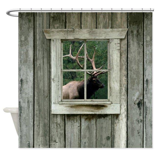 Old Wood Cabin Window With Bull Elk Decorative Fabric Shower Curtain Bath Products Bathroom Decor