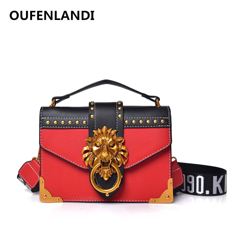 Изысканный женская сумка с заклепками женская сумка прекрасный письмо сумки высокого качества лев замки женские сумки через плечо