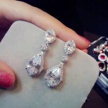 UILZ Elegant White Gold Large Drop Earrings Water Drop Shape Fashion Wedding Jewelry With Crystal CZ For Women UE2034 недорого