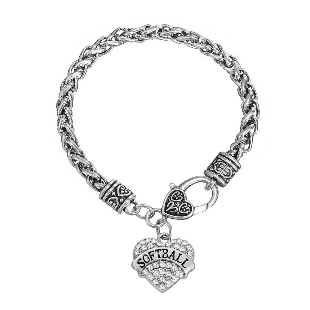 Zinc Alloy Material Rhodium Plated Crystal Softball Bracelet(china  (mainland))