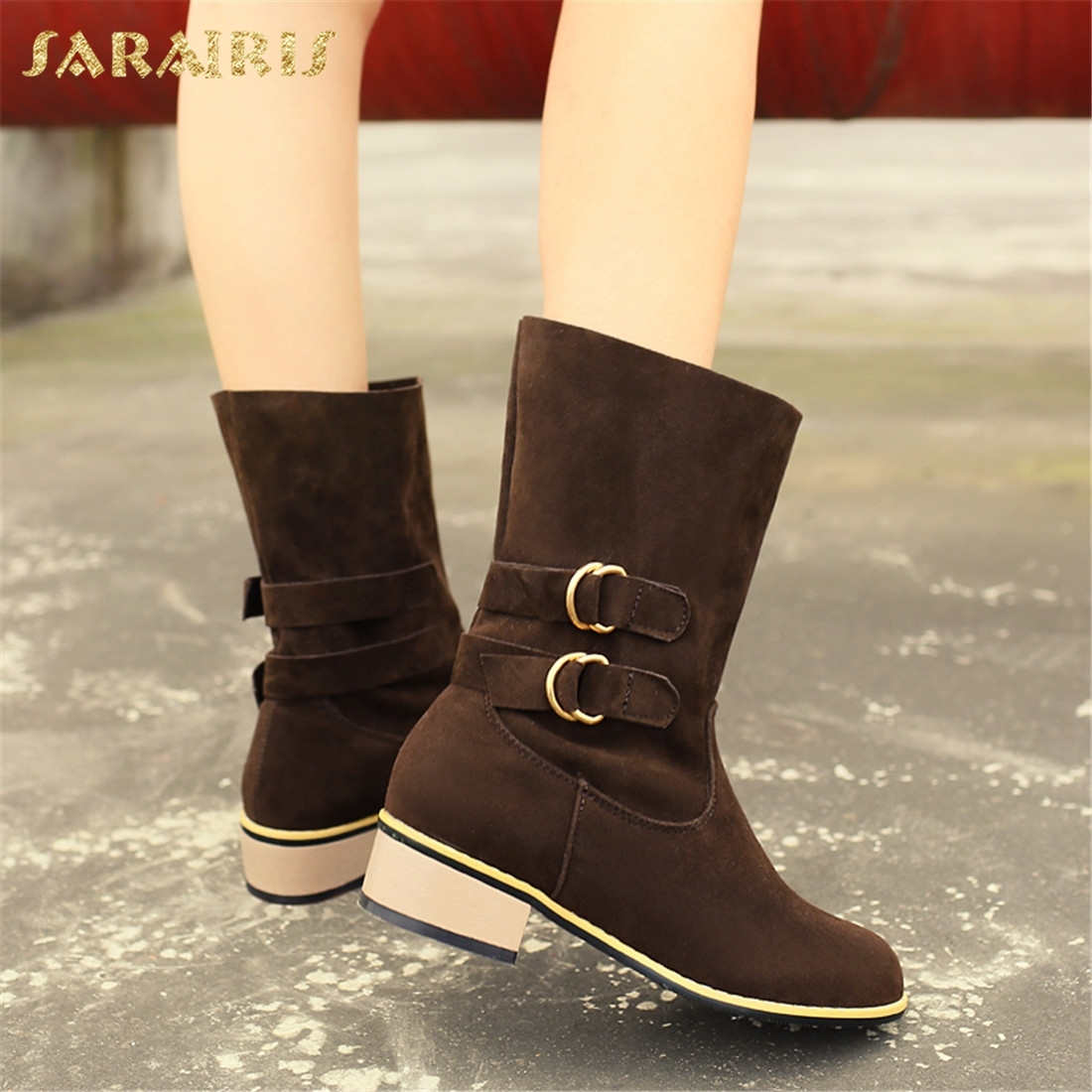 SARAIRIS Plus Size 34-48 Add Fur Warm Winter Boots Woman Shoes Chunky Heels Hot Sale Mid Calf Boots Female Shoes Women sarairis new plus size 32 46 slip on add fur add fur winter boots woman shoes chunky heels mid calf boots shoes woman