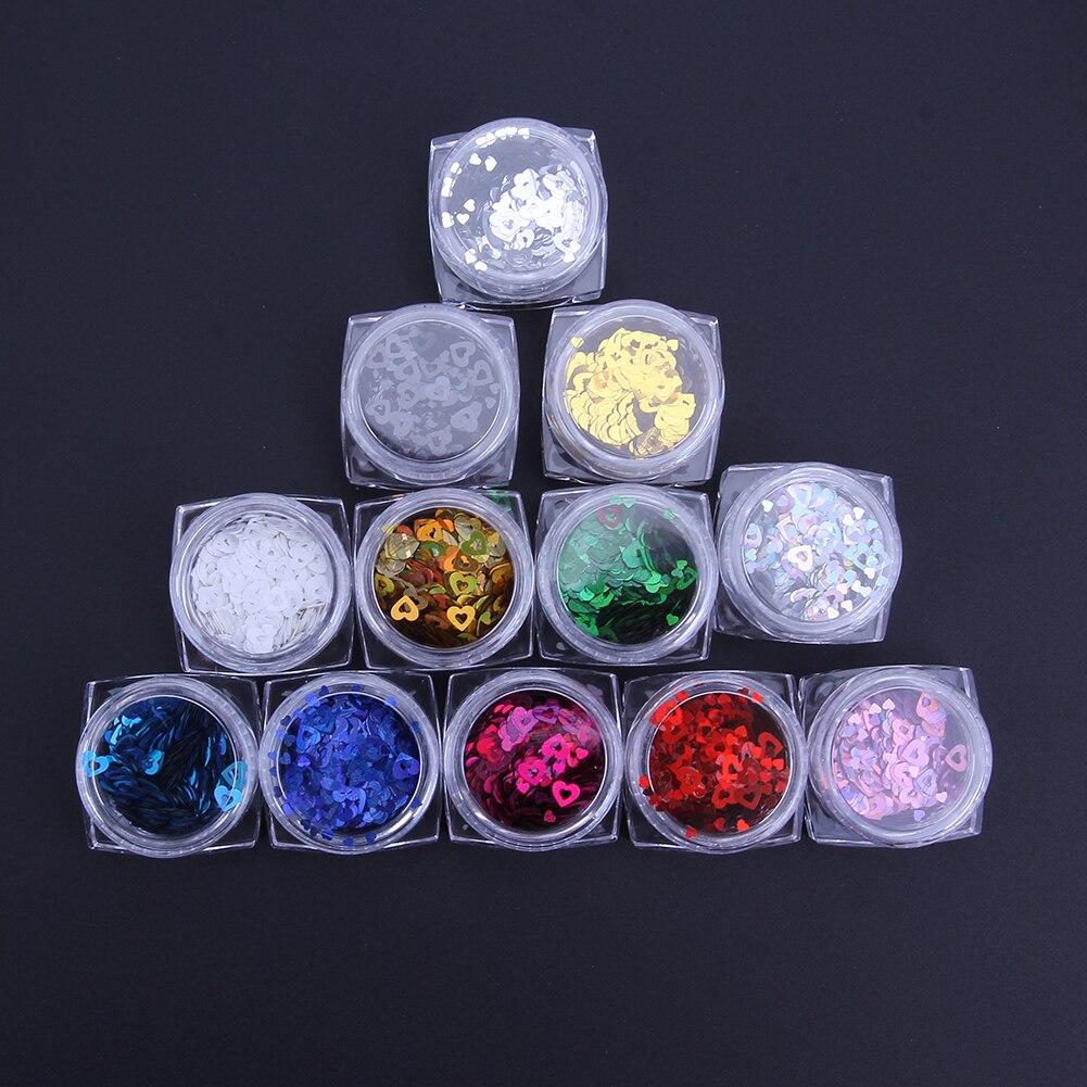 12 farben/box Nagel Kunst Herz Glitter Mix Pailletten Feinen Bunten ...