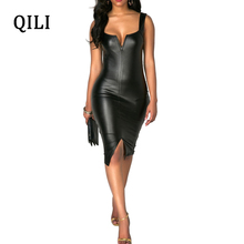 QILI Sexy V-Neck Sleeveless Black UP Dress New Hot Women Leather Dresses Office Lady Knee-Length Bodycon Vestidos Female