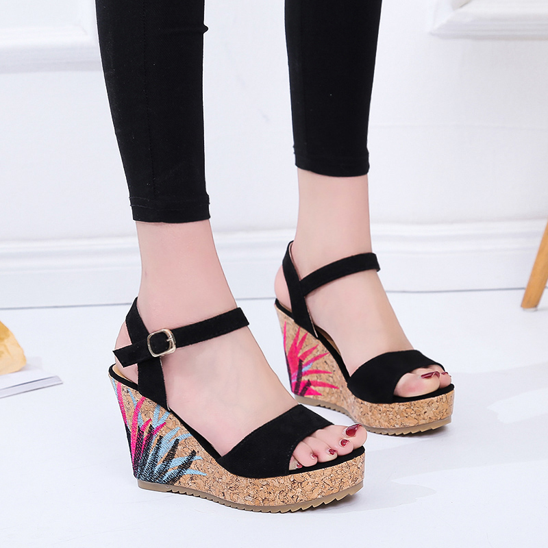 2019 Summer Graffiti Platform Sandals Women Leather Ladies Shoes Wedge Sandals High Heels Suede Fashion Sandals m736